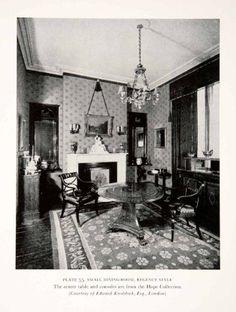 1939 Print Dining Room Furniture Regency England Interior Design Table Chairs - Original Halftone Print Period Paper