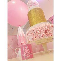 Wedding Cake. Blush and Gold Glitter. Rosettes. Dessert. Indulge. Sweet Indulgence. #VillageIndulgence @Kerricupcake on Instagram