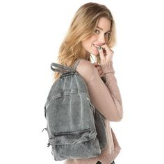 Washed Fabric Backpack - Brandy Melville - Polyvore