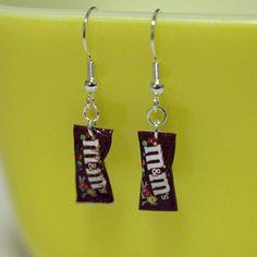 Kawaii Miniature Food Earrings - MINI M&M · FingerFoodDelight ... Weird Jewelry, Cute Jewelry, Jewelry Accessories, Jewlery, Fashion Accessories, Fashion Jewelry, Funky Earrings, Unique Earrings, Drop Earrings