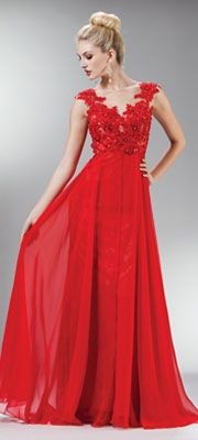 2014 Prom Dresses - Red Beaded Lace Mesh Cap Sleeve Long Dress