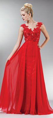 2014 Prom Dresses - Red Beaded Lace Mesh Cap Sleeve Long Dress
