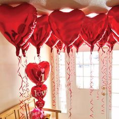 Red Heart-shaped Foil Balloons Birthday wedding party Supplies Decoration Home Globos Wedding Balloon Decorations, Wedding Balloons, Valentine Decorations, Heart Decorations, Decor Wedding, Valentines Balloons, Valentines Day Party, Be My Valentine, Heart Balloons