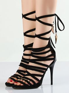 Image of Sandalias De Tacón De Gladiator Negro Superb 100% real leather black heeled sandals, featuring caged strappy design, retro gladiator sandal style, back zipper. Perfect for party and work time. Negro Cuero Heel height:10cm