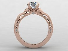 Skull Engagement Ring 14K Rose Gold with diamond - quirky but beautiful :)