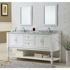 Add function and classic style to your bathroom with this double sink vanity cabinet. With a pearl white finish, marble top, and mission-style legs, this vanity works in any bathroom decor. It is pre-cut for a sink to make installation easier.