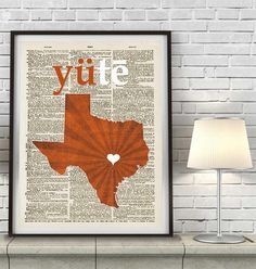 Texas Longhorns UT inspired Phonics/Phonetic ART PRINT Using Old Dictionary…
