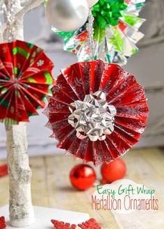 Easy Gift Wrap Medallion Ornaments