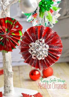 Easy Gift Wrap Medallion Ornaments - Mom On Timeout