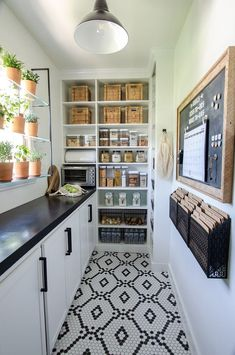 Walk-In Pantry Reveal: SO many ideas & inspiration in this before and after pantry remodel! Loving all of the organization, pantry shelving, countertops, window garden. Narrow walk in pantry design with countertop and shelving Kitchen Pantry Design, New Kitchen, Kitchen Storage, Kitchen Dining, Kitchen Decor, Kitchen Black, Kitchen Ideas, Rustic Kitchen, Kitchen With Pantry