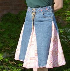 Upcycled Jeans to Skirt with Fabric Triangle Panels. Easy redo reuse refashion