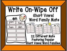 This set includes 22 colorful, hands on wipe off mats for your students to practice their short vowel family skills.