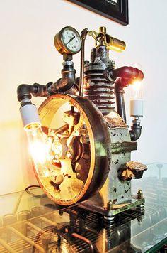 Vintage Antique Old Curtis Compressor Lamp Light Art by JWWfineART