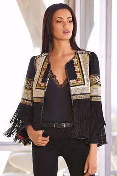 Embroidered Fringe Jacket I from Boston Proper Ethnic Fashion, Hijab Fashion, Boho Fashion, Fashion Dresses, Fashion Looks, Womens Fashion, Fashion Tips, Fashion Design, Fashion Trends