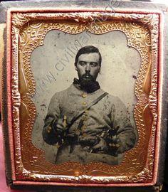 Civil War Ambrotype Quadruple Armed Confederate Soldier Guns - Knife - Sword