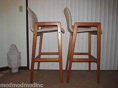 Pair Tarm Stole Denmark Teak Barstools Upholstered Seats Danish Modern | eBay