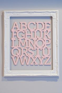 Light Pink, Gray and White Shabby Chic Nursery - Wooden ABC's, baby girl room   Life's Tidbits