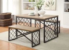 The Catalina 3Pc Pack Dining Set offers simple lines with a versatility perfect for any small dining space. This Casual Table features a Smooth Light Oak Rectangular Top with Dark Metal Grid Style Legs and 'X' supporting stand. The 2 Matching Benches include a Light Oak Wooden Seat with Dark Metal Grid Style Legs and 'X' supporting stand. KD Construction (Assembly Required)