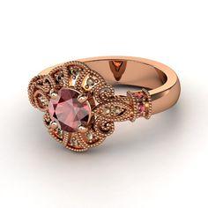 Round Red Garnet 14K Rose Gold Ring with Red Garnet & Smoky Quartz   Chantilly Ring