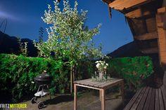 Grillplatz - Grillecke auf der Terrasse.  Blick auf die Steinplatte und die Loferer Steinberge.  www.mitterer.at