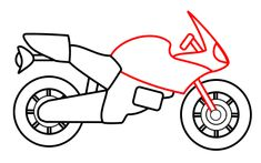 How to draw a cartoon motorcycle