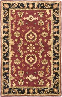 Timeless Black, Dark Red Hand Tufted Rug 5 ft. 0-inch X 8 ft. 0 Inch