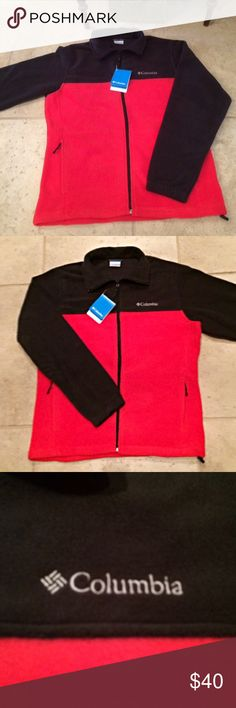 Columbia Fleece Jacket FIRM Men's Columbia Steens full zip fleece jacket in black and bright red. Black top and arms with red body. Sleeves have elastic cuff. Zip pockets on both sides of hip. 100% polyester with draw cord at bottom for adjustable fit. Columbia Jackets & Coats