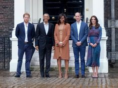 From left: Prince Harry, President Barack Obama, First Lady Michelle Obama, Prince William and Princess Kate