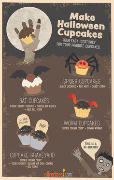 These simple tricks make bat cupcakes, spider cupcakes, worm cupcakes—even a cupcake graveyard—a no-brainer. Happy haunting!