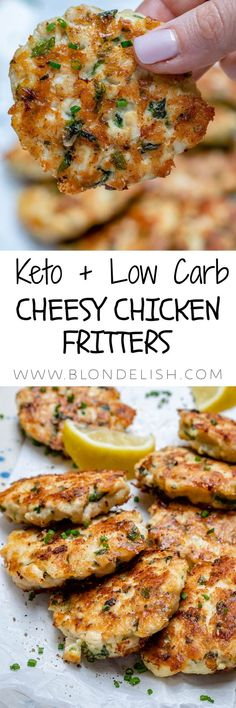 This cheesy chicken fritters recipe takes just 30 minutes to make so its super easy and also perfect for the Keto diet. This cheesy chicken fritters recipe takes just 30 minutes to make so its super easy and also perfect for the Keto diet. Ketogenic Recipes, Low Carb Recipes, Diet Recipes, Healthy Recipes, Recipies, Simple Recipes, Recipes Dinner, Healthy Food, Beignets
