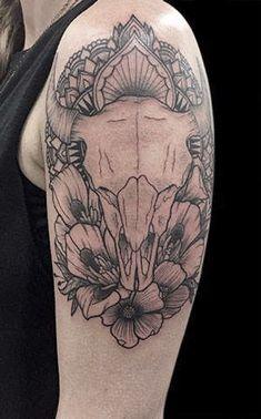 5de652364952a Buffalo Skull, Blackwork, Body Art, Ink, Crazy Tattoos, Tatoos, Desert