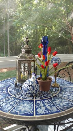 Ideas kitchen ideas blue and white table settings Blue And White China, Blue China, Red Table Settings, Blue Plates, Garden Table, White Rooms, White Houses, French Country Decorating, White Decor