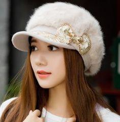 Encontre mais Boinas Informações sobre Cap mulheres chapéu de pele de  inverno das mulheres boina masculina c771a94d860