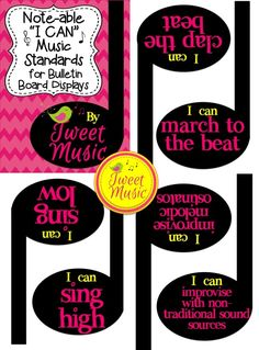 "100 ""I Can"" Music Standards Statements made in a musical way for you to display in your classroom year after year! Tweet Music has created a comprehensive list of brief ""I Can"" music standard statements that cover a range of grade levels."