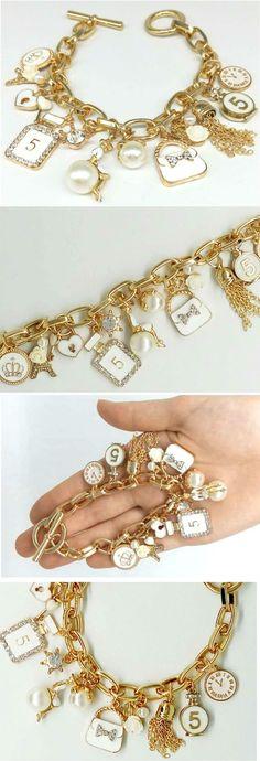 Bracelet charm White Gold, charm camelia, Charm madam CoCo,Bracelet chain…