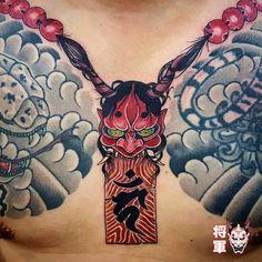 Yakuza Style Tattoo, Oni Tattoo, Japanese Tattoo Art, Japanese Art, Folklore Japonais, Foo Dog Tattoo, Necklace Tattoo, Carpe Koi, Traditional Japanese Tattoos