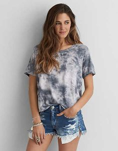 AEO Soft & Sexy Sky High T-Shirt , Grey | American Eagle Outfitters