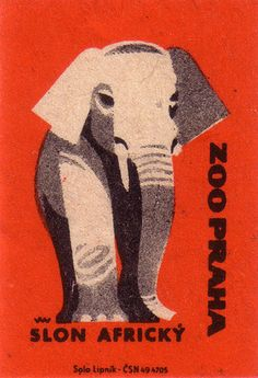 prague zoo. 1963. czechoslovakia. matchbox label. print. ephemera. [2952]