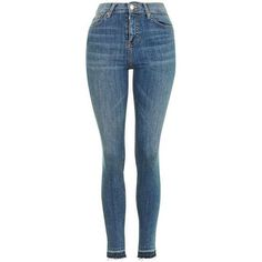 Topshop Moto Let Hem Blue Jamie Jeans (1.565 UYU) ❤ liked on Polyvore featuring jeans, calça, bottoms, my clothes, pants, blue jeans, denim skinny jeans, skinny jeans, high rise jeans and topshop skinny jeans