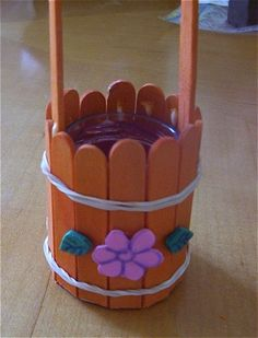 Wishing Well Craft Stick Children's Craft Use pennies and clear filler for inside.  For woman at the well- You can make it look less girly and put the verse on it somehow.