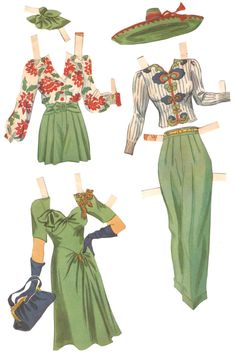 My Pretty Baby Cried She Was a Bird: Movie Star Paper Dolls - Rita Hayworth Paper Dolls Clothing, Doll Clothes, Paper Fashion, Fashion Art, 1940s Fashion, Vintage Fashion, Paper Dolls Printable, Vintage Paper Dolls, Paper Dolls Book