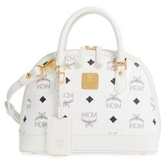 MCM 'Mini Heritage' Coated Canvas Bowler Bag ($855) ❤ liked on Polyvore featuring bags, handbags, white, mcm, white satchel, mini purse, handbag satchel and mcm handbags