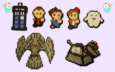 Doctor Who Perler Necklaces/Magnets Tardis  9th by MerkittenCrafts