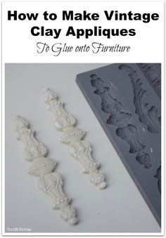 How to Make Vintage Clay Appliques to Glue onto Furniture - Take your DIY furniture makeovers to the next level with these affordable clay molds! Thrift Diving Contact Us Old Furniture, Refurbished Furniture, Repurposed Furniture, Shabby Chic Furniture, Furniture Projects, Furniture Making, Furniture Makeover, Vintage Furniture, Furniture Stores