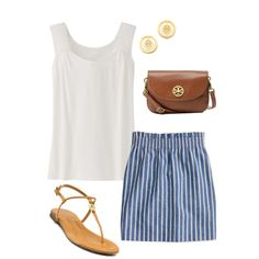 Sub in Stella & Dot for the Tory Burch earrings ;-) and i'm all set. I have the shirt... sub my gold flip flops, too ... need to (a) lose 50# and (b) get that striped skirt!
