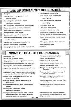 Healthy and unhealthy boudaries.