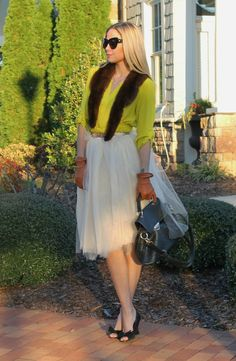 DIY tulle tutu skirt, glitter bow belt, chartreuse blouse, mink collar, driving gloves www.theBsoup.com