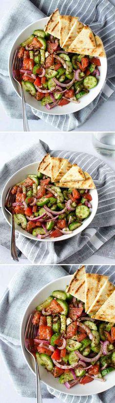 FATTOUSH SALAD - cucumber, healthy, lemon, recipes, red wine, salad, tomato