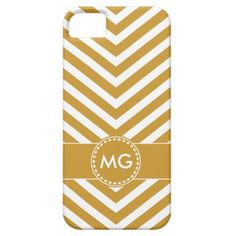 Monogrammed Chevron & Seeds in Yellow- iPhone 5/5S