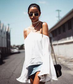 Bell Sleeves + Denim Skirts